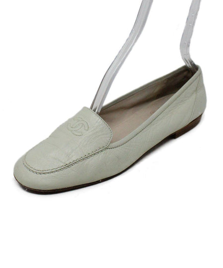 Chanel White Black Lambskin Leather Flats Sz 36
