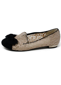 Chanel Nude Lace Black Toe Flats US 8
