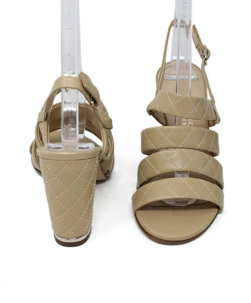 Chanel Tan Quilted Leather Sandals Sz 36