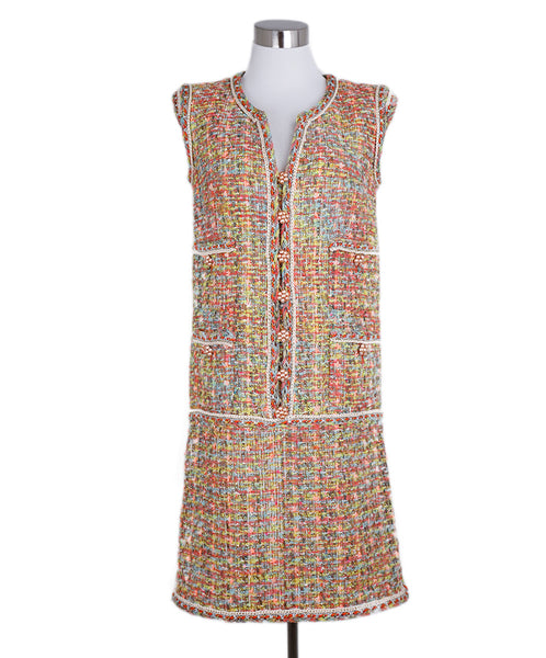 Chanel Orange Green Lime Tweed Padded Shoulder Dress 1