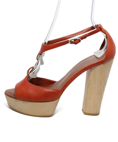 Chanel orange leather wooden heel 1