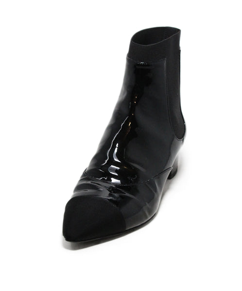 Chanel Black Patent Leather Grosgrain Trim Fa 19 Booties 1
