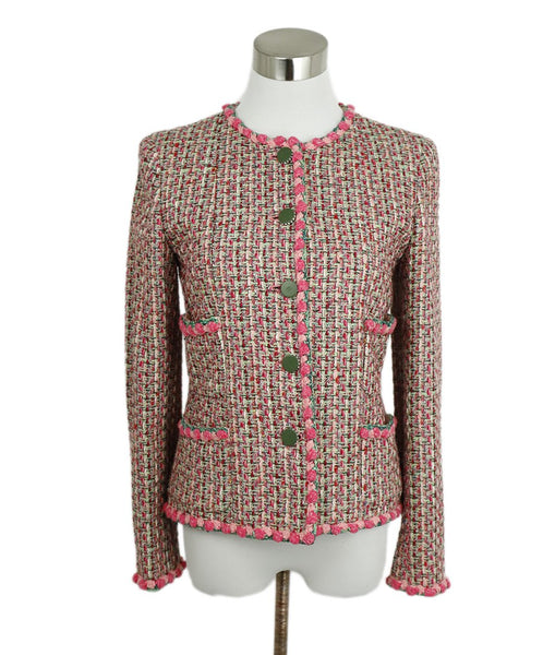 Chanel Pink Green Tweed Jacket 1