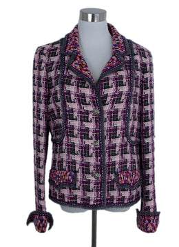 Chanel Pink Grey Purple Wool Cotton Jacket 1