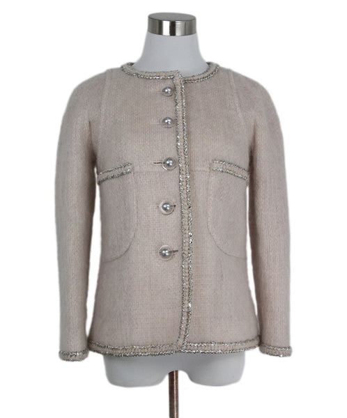 Chanel Neutral Pink Mohair Wool Silver Trim Jacket 1