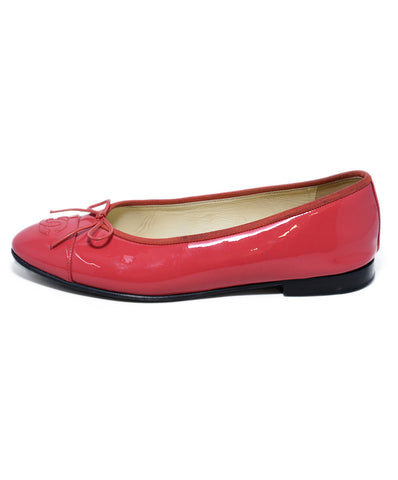 Chanel Pink Patent Leather Flats 1