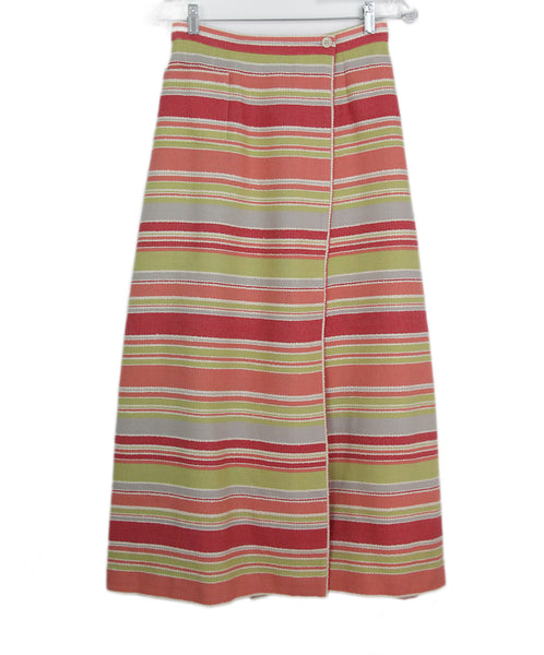 Chanel pink yellow white striped skirt 1