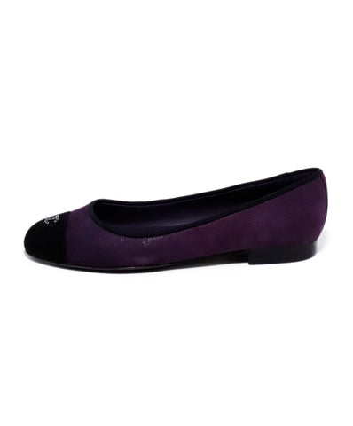Chanel Purple Black Suede Ballerina Flats 2