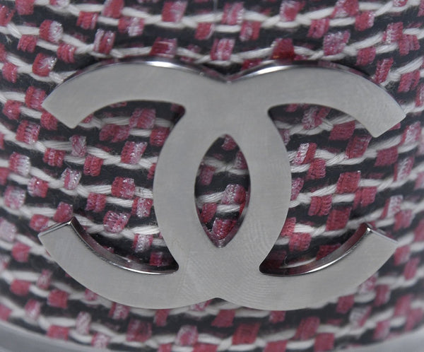Chanel Red Black White Tweed Clear Plastic Cuff Bracelet 6