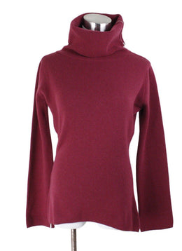 Turtleneck Chanel Size 4 Red Burgundy Cashmere Zipper Trim Sweater