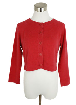 Chanel Red Cashmere Cardigan Sweater 1