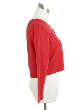 Chanel Red Cashmere Cardigan Sweater 2