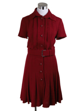 Long Chanel Red Wool W/Belt Polyester Dress 1