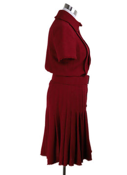 Long Chanel Red Wool W/Belt Polyester Dress 2