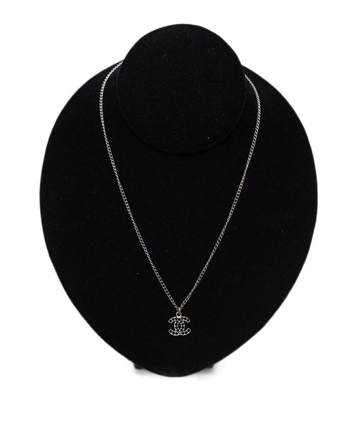 Chanel Metallic Silver Black Crystal Logo Pendant Necklace 1