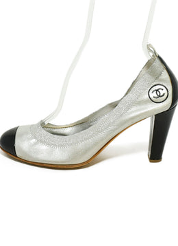 Chanel Silver Leather Black Patent Trim Heels 2