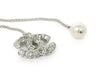 Chanel Metallic Silver Metal Rhinestone Pearl Jewelry Necklace 3