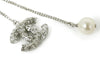 Chanel Metallic Silver Metal Rhinestone Pearl Jewelry Necklace 2