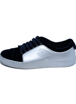 Chanel Metallic Silver Rubber Navy Velvet Sneakers 2