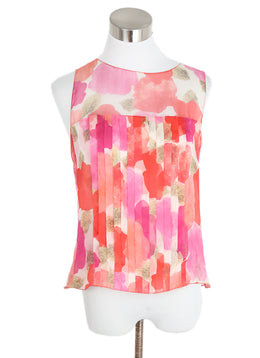 Chanel Pink Multi Silk Floral Top 1
