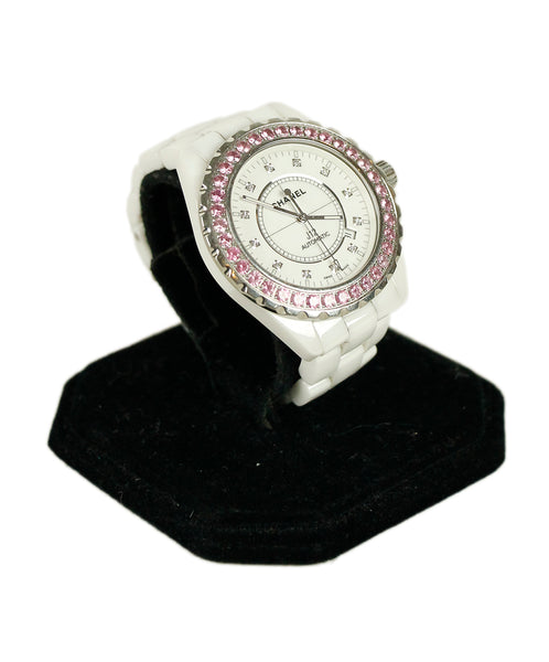 Chanel White Ceramic Pink Sapphire Diamond Watch