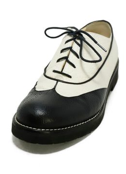 Chanel White Black Leather Oxfords 1