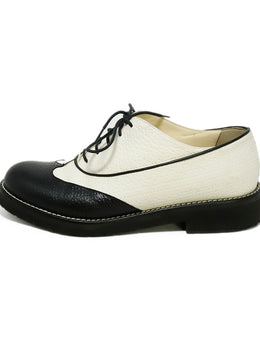 Chanel White Black Leather Oxfords 2