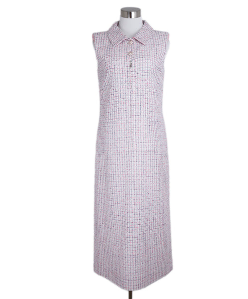 Chanel White Blue Pink Tweed Dress 1