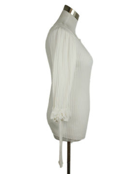 Chanel White Cotton Ruffle Sweater 2