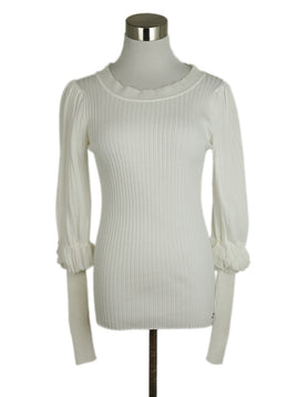 Chanel White Cotton Ruffle Sweater 1