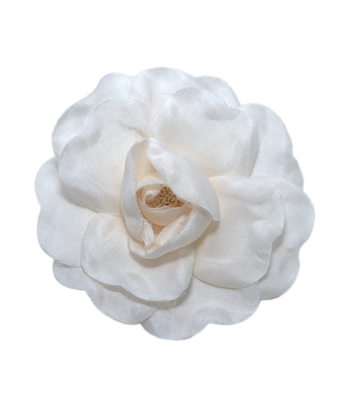 Chanel White Ivory Silk Flower Rose Pin 1