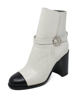 Chanel White Leather Black Trim Booties Sz 7