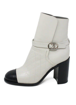 Chanel White Leather Black Trim W/Dust Bag Booties 1