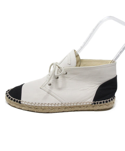 Chanel white leather black trim espadrilles 1