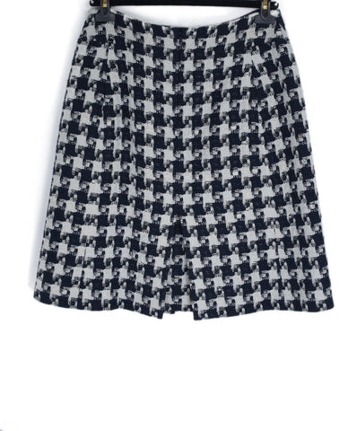 Chanel White Navy Cotton Polyamide Skirt 1