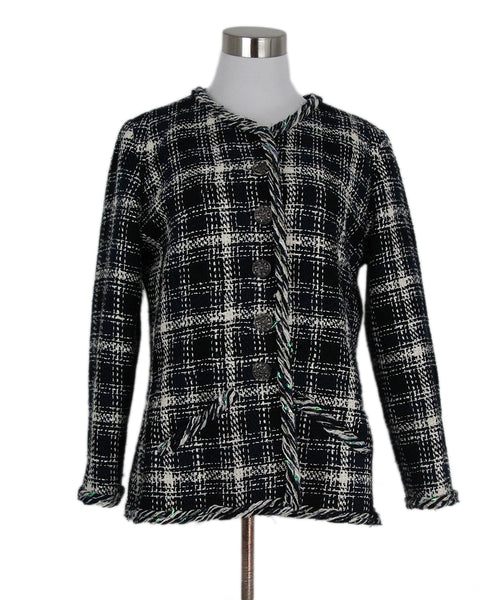 Chanel White Navy Plaid Cotton Linen Jacket 1