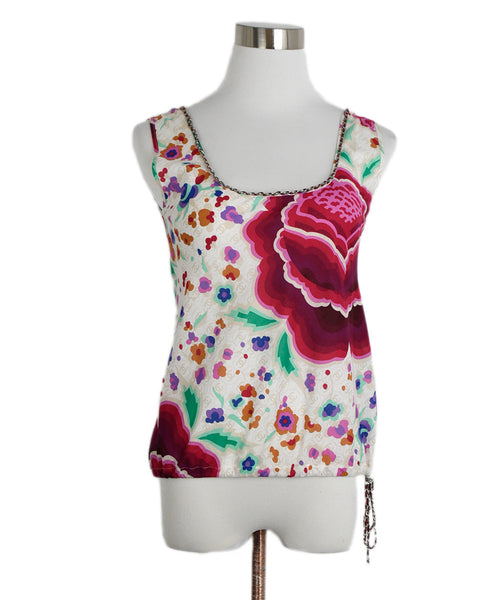 Chanel White Fuchsia Floral Cotton Chain Trim Top 1