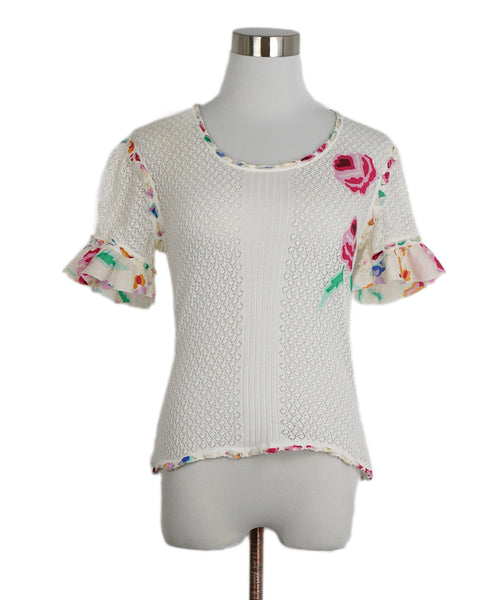 Chanel White Fuchsia Floral Trim Cotton Top 1