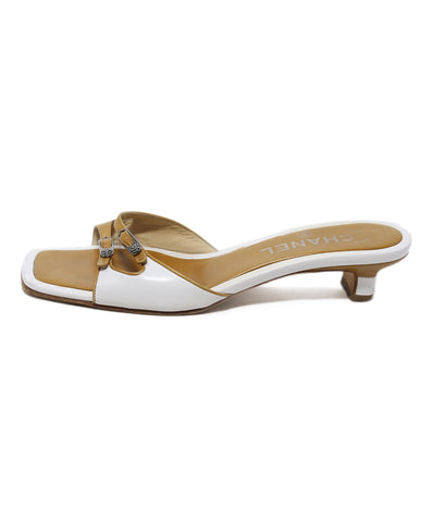 Chanel white tan leather sandals 1