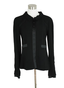 Chanel Black Wool Satin Trim Pearl Button Jacket 1