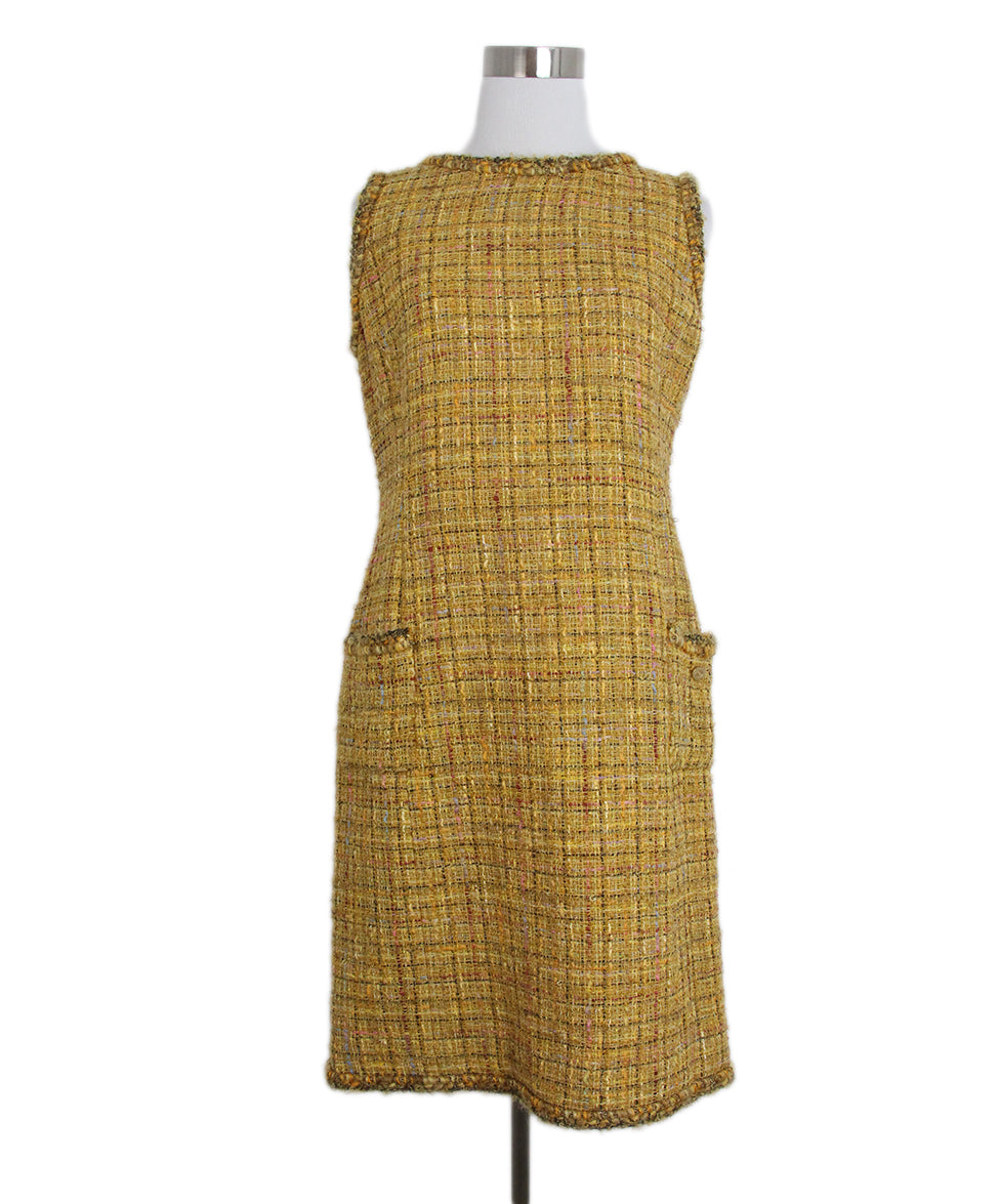Chanel yellow mustard tweed dress 1