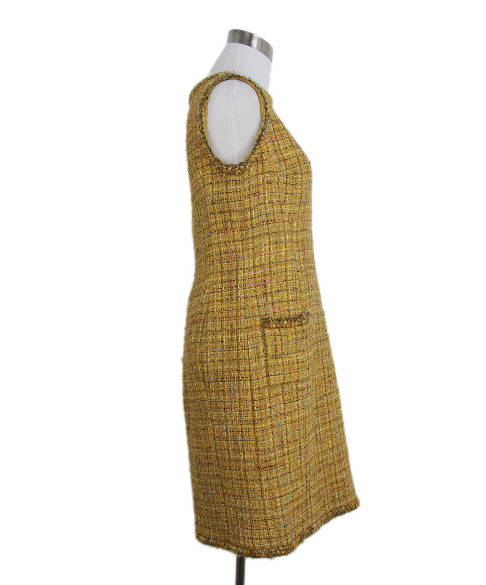 Chanel yellow mustard tweed dress 2