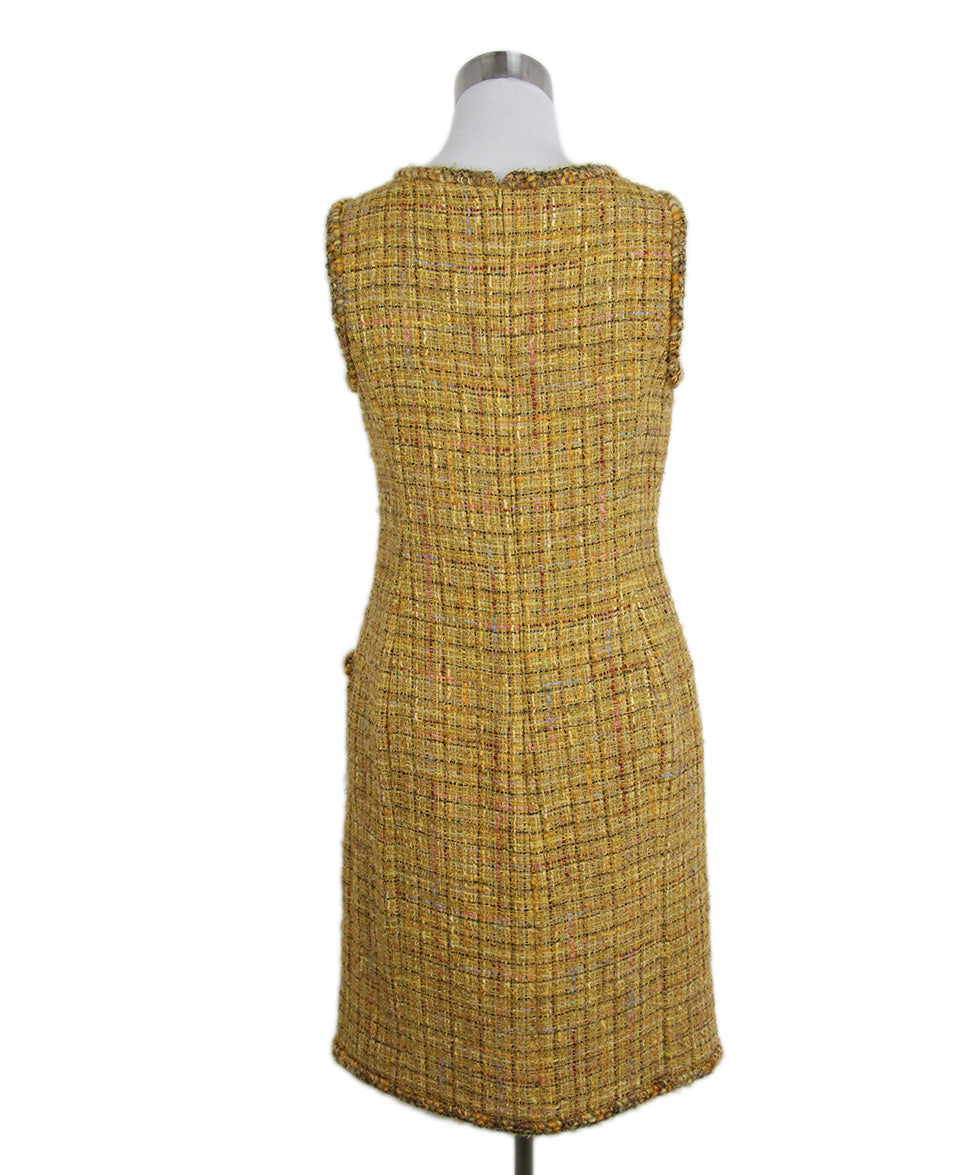 Chanel yellow mustard tweed dress 3