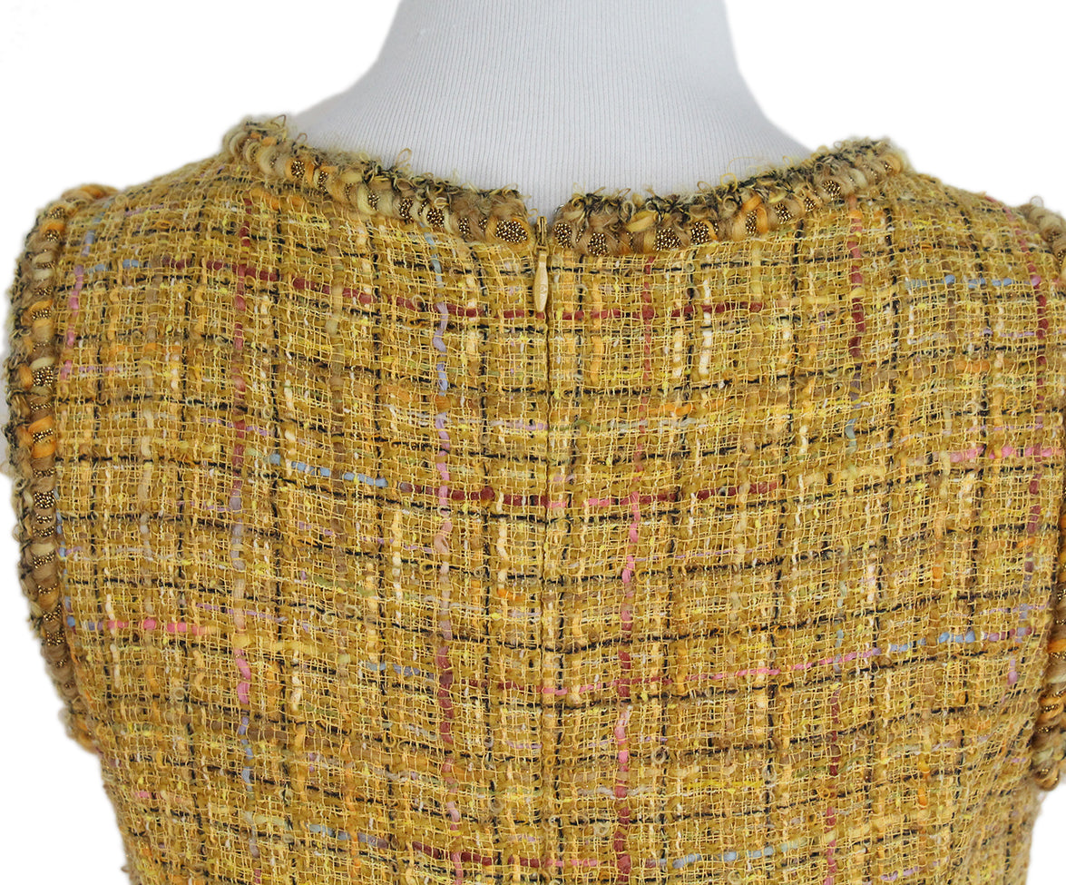 Chanel yellow mustard tweed dress 5