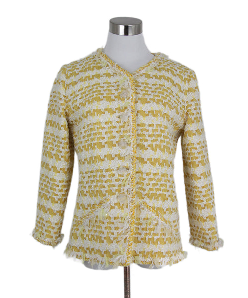 Chanel Yellow White Cotton Wool Tweed Jacket 1