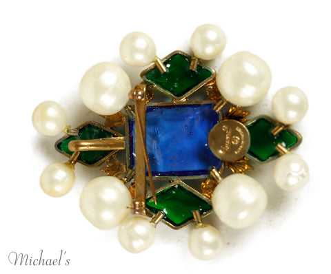 Chanel Metal Pearl Blue Green Glass Pin