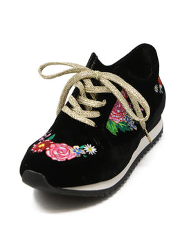 Charlotte Olympia Black Velvet Sneakers with Multi Colored Floral Embroidery 1