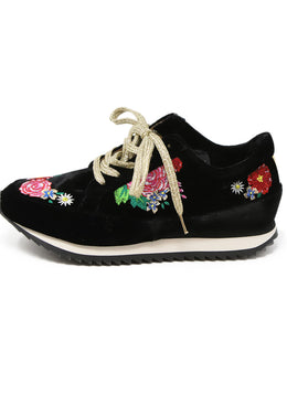 Charlotte Olympia Black Velvet Sneakers with Multi Colored Floral Embroidery 2