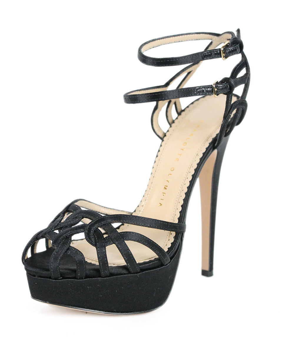 Charlotte Olympia Black Satin Strappy Evening Shoes Sz 37.5 - Michael's Consignment NYC  - 1