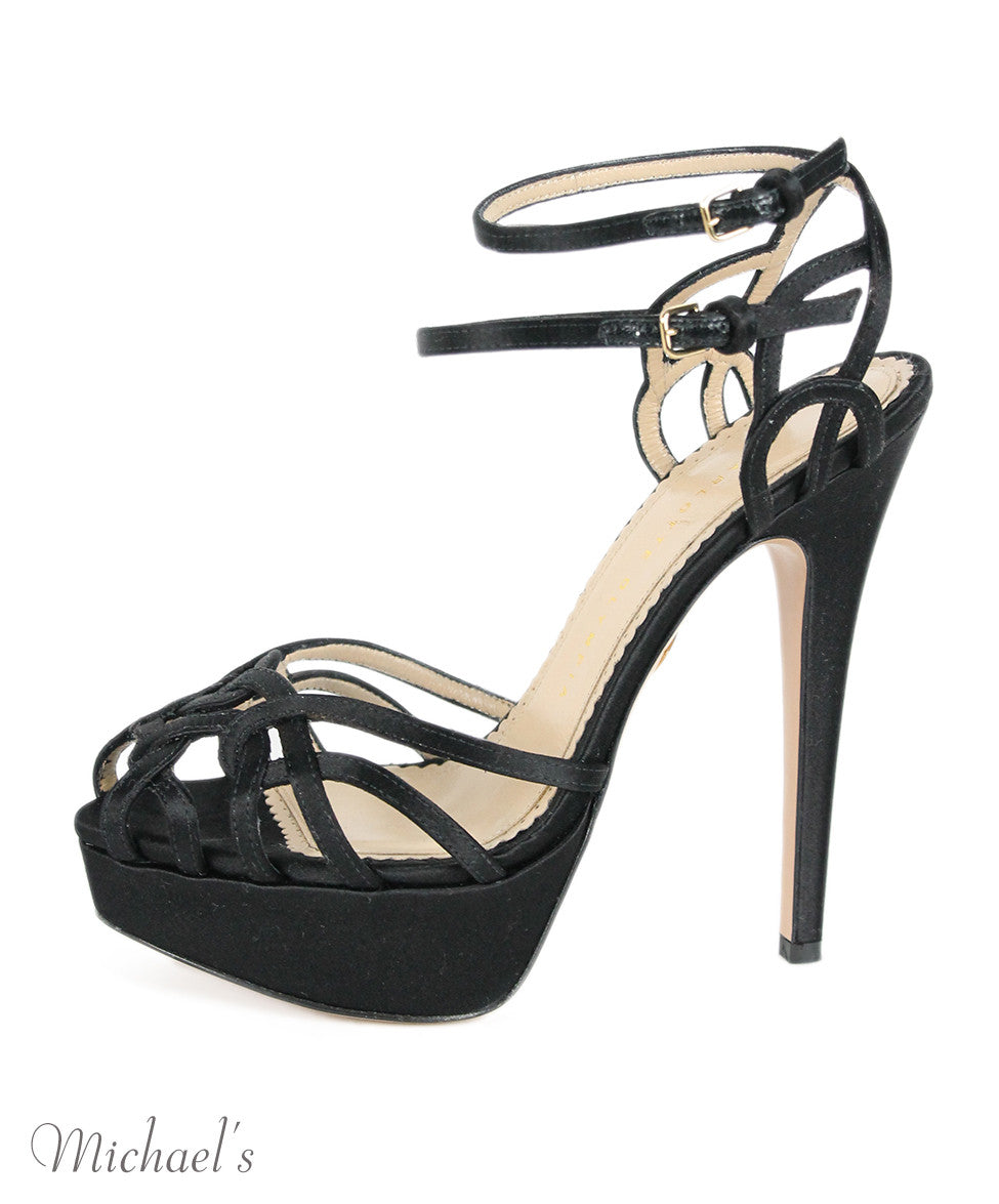 Charlotte Olympia Black Satin Strappy Evening Shoes Sz 37.5 - Michael's Consignment NYC  - 2